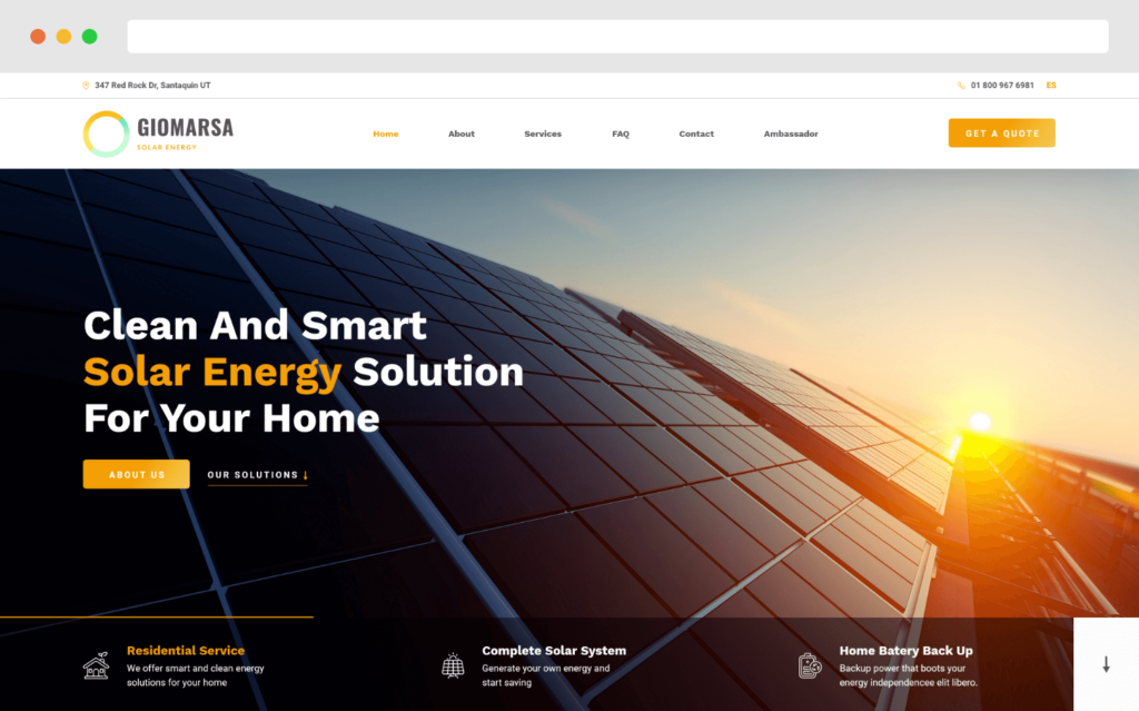 Giomarsa Solar Energy Website Design By Gobemax